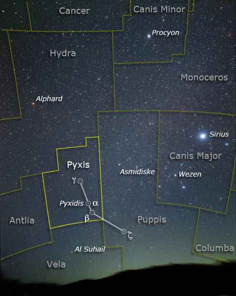 Pyxis, Canis Major and the head of Hydra