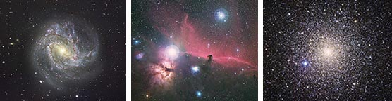 M83, the Horsehead nebula and globular cluster
