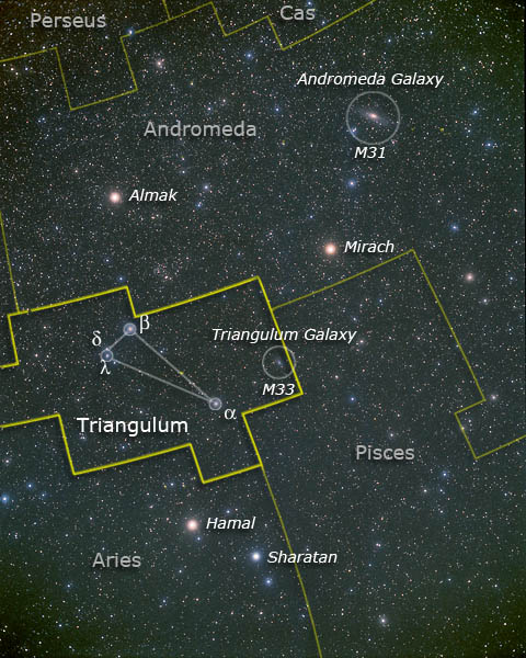 Constellation of Triangulum, with Andromeda and M31